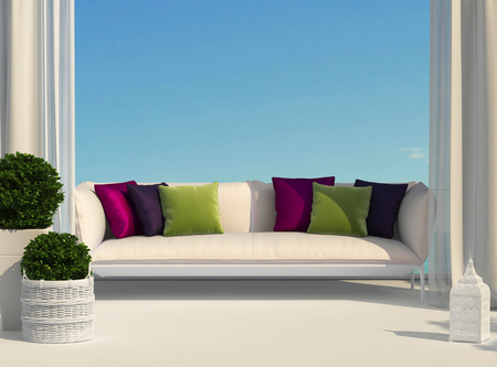 Terrace, furniture and bright cushions