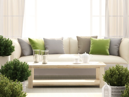 Light terrace with sofa, flowers and candles
