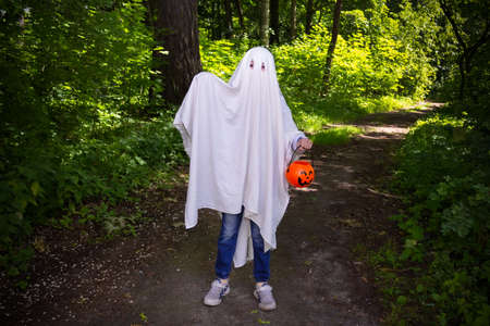 Child in halloween ghost costume with a basket of pumpkin in the forest among green trees 写真素材