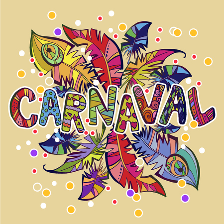 carnaval logo whith feathers Illustration