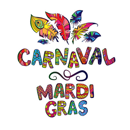 carnaval logo whith feathers Vectores