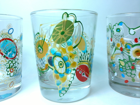 set of hand painted glasses Stock Photo