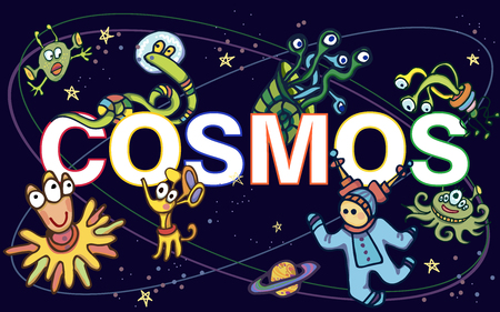 set of funny cosmos UFO characters with text Ilustrace