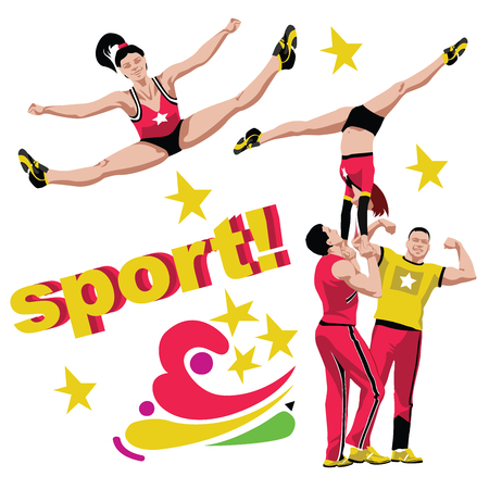 Cheerleading sport detailing composition