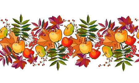 autumn leaves and apples pattern