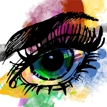 Big graphical eye on watercolor background Çizim