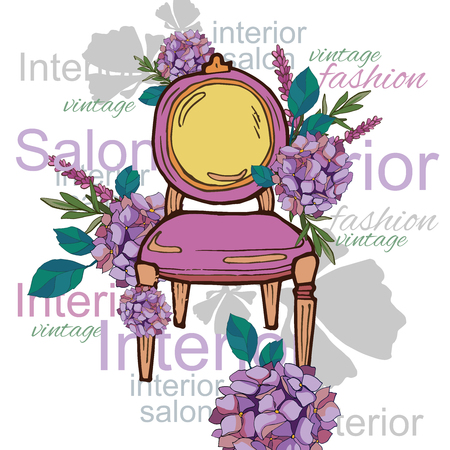 delicate collage armchair and fowers 向量圖像
