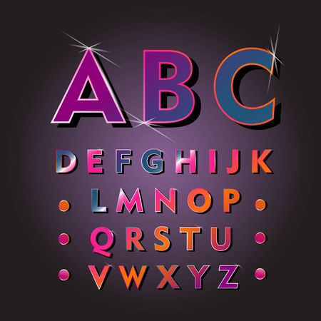 Lighting alphabet on black background