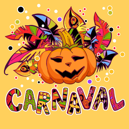 carnival design with feathers and pumpkin