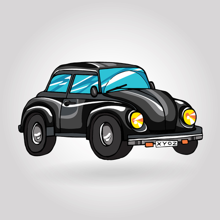 vintage retro hand drawn car Vettoriali