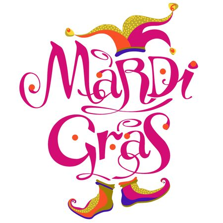 mardi gras lettering logo with cap & shoes