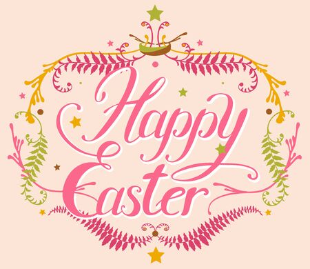 happy easter hand lettering set whith decorative elements
