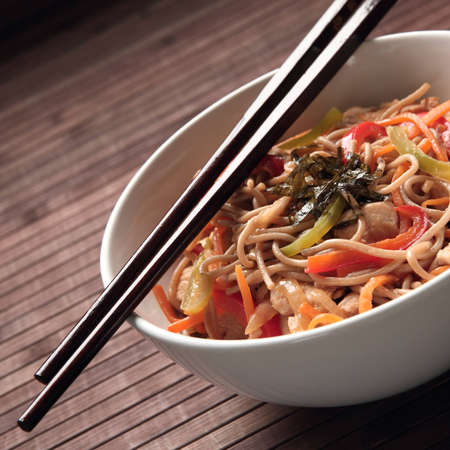chinese noodles: Buckwheat noodles with chicken and vegetables in Japanese style