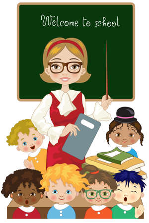 Teacher with children begin lessons at school Çizim