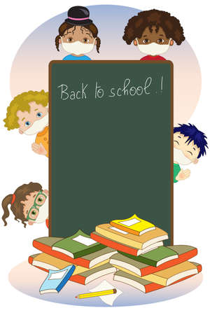 Many children with a large blackboard happily begin the lessons at school with a mask