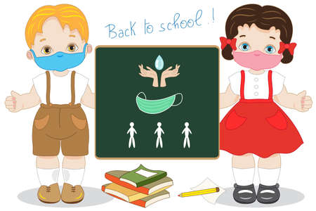 Two children with a large blackboard happily begin the lessons at school with a mask