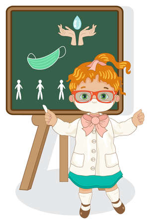 A little girl with a blackboard explains the anti-COVID-19 precautions for the school