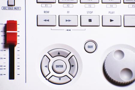 Equipment for sound mixer control. Stock Photo
