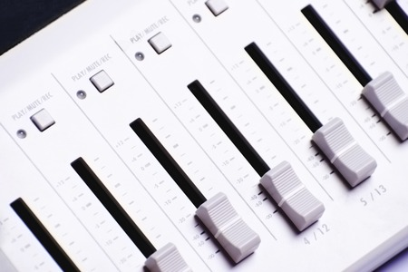 Sound mixer control equipment, professional electornic music device. Standard-Bild