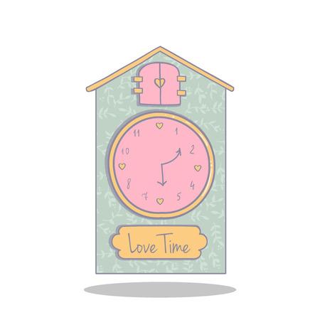 reloj cucu: Ejemplo lindo de un reloj de cuco. Tiempo para el amor. Objeto para la decoraci�n y el dise�o.