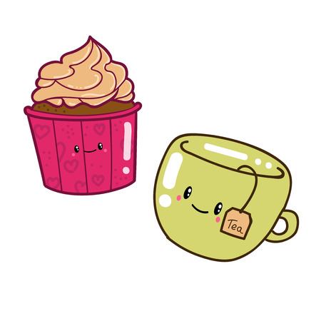 cup cake: Cute doodle cartoon hand drawn. Cup cake and tea