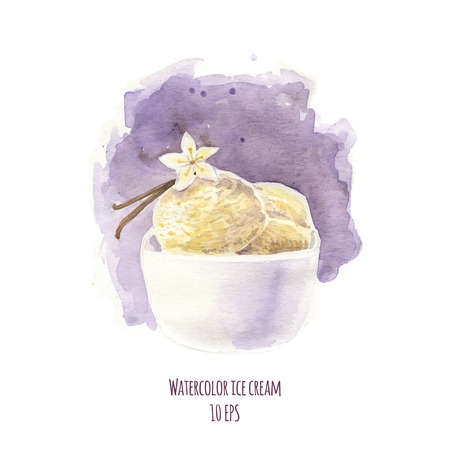 raisin: Watercolor dessert. Hand drawn watercolor painting on white background. Vector illustration