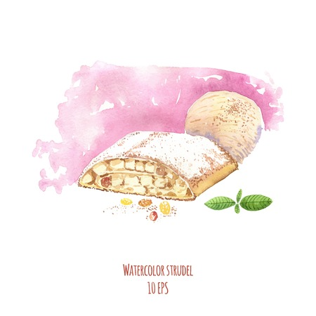 Watercolor dessert. Watercolor strudel. Hand drawn watercolor painting on white background. Vector illustration