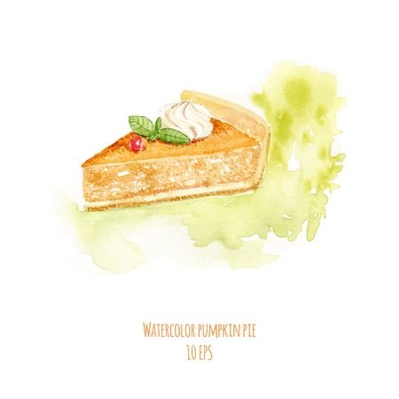 pumpkin pie: Watercolor pumpkin pie. Hand drawn watercolor painting on white background. Vector illustration.