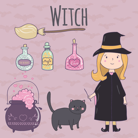 witch on broom: Halloween cute illustration of a witch.Witch, broom, cauldron potion, a black cat, a potion in glass jars. It can be used for design Halloween party invitations, scrapbook.
