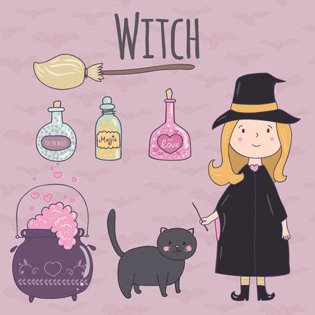brujas caricatura: Halloween del ejemplo lindo de un witch.Witch, escoba, poción caldero, un gato negro, una poción en frascos de vidrio. Puede ser utilizado para las invitaciones de diseño fiesta de Halloween, libro de recuerdos.