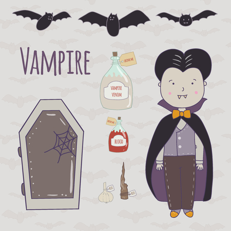 flying coffin: Halloween illustration of a cute vampire. Vampire, coffin, potion in glass, flasks, garlic and a wooden stake.It can be used for design Halloween party, invitations, scrapbook.