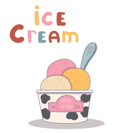 conserved: Vector illustration of ice cream. Cute alphabet in vector. I letters. Funny cartoon. Illustration