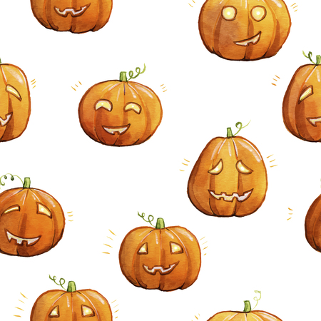 playfull: Watercolor pumpkins. Jack-o-lanterns with happy faces. Cute seamless pattern. Illustration