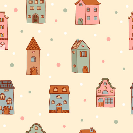 vibrant cottage: Pattern of the bright, hand drawn illustration of houses.