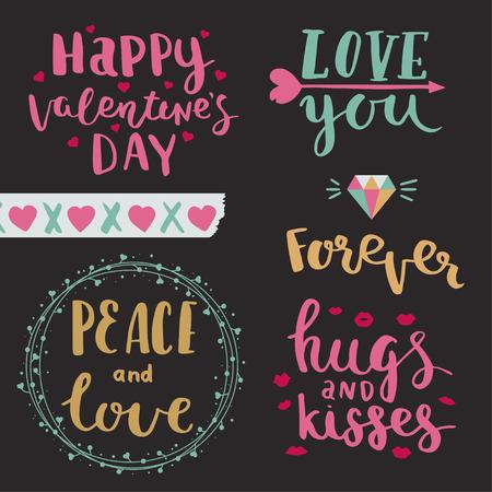 幸せなバレンタインデー。愛しています。平和と愛。絶えず。バレンタインの日、手描きのレタリング コレクションのベクトル写真オーバーレイを