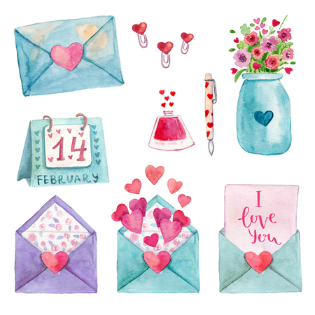 Cute watercolor  romantic illustration set of design elements for Valentines Day, Wedding day, scrapbook