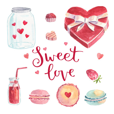 sweet love: Watercolor set illustration with macaroon, lemonade, strawberry, chocolate candy, sweet love, set, ribbon, bow.  Can be used for scrapbook, wedding invitations and registration, for Valentines Day Stock Photo