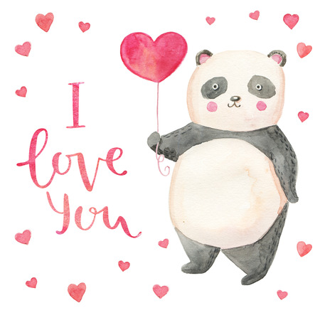 Cute illustration panda with hearts card for valentine's day. Hand drawn lettering I love you