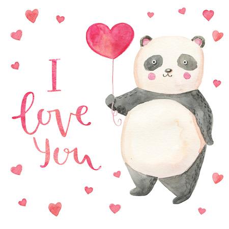 oso panda: ejemplo de la panda linda con la tarjeta de los corazones para el día de San Valentín. Dibujado a mano las letras Te amo Foto de archivo