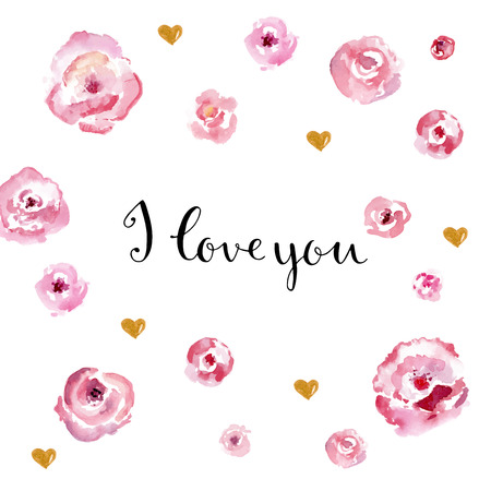 wedding love: Cute card with watercolor flowers with hand draw sing I love you. Card for invitation for wedding, Valentines day