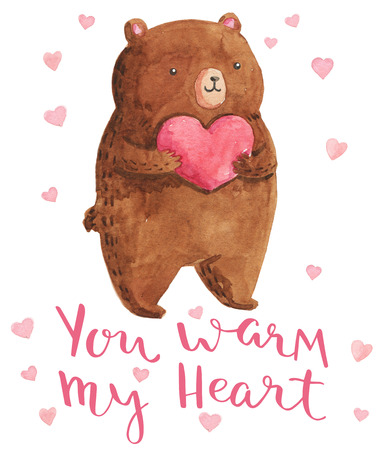 cute love: Watercolor illustration bear with heart. Bright design for kid party. You warm my heart - handmade calligraphy.