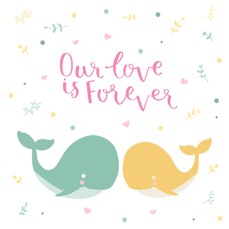 swim cap: Cute illustration of a whale and hand drawn quote Our love is forewer
