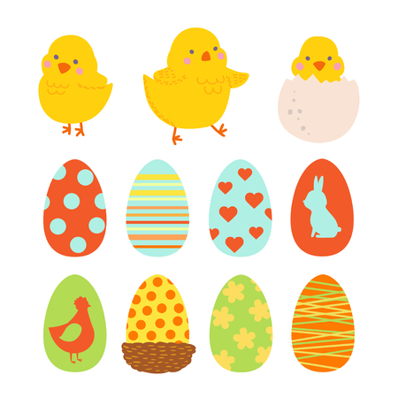 Happy Easter design elements set with cute chicks and eggs. Illustration for design card of the Easter, scrapbook or party