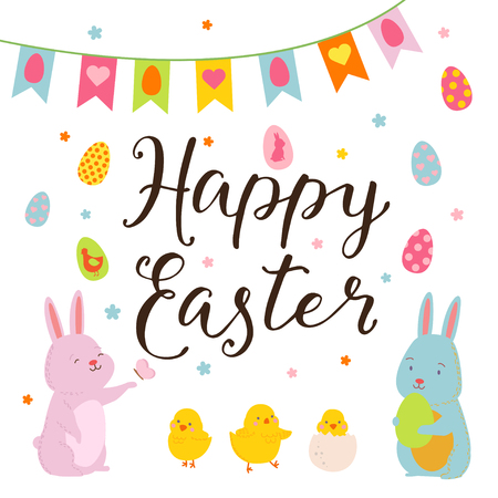chikens: Happy Easter design elements set with cute bunny, chikens and eggs, lettering. Happy Easter.  Illustration for design card of the Easter, scrapbook or party