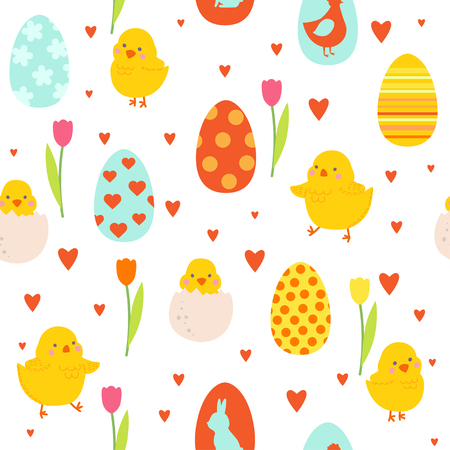 Happy Easter pattern with cute chicks and eggs. Illustration pattern for design card of the Easter, scrapbook or party