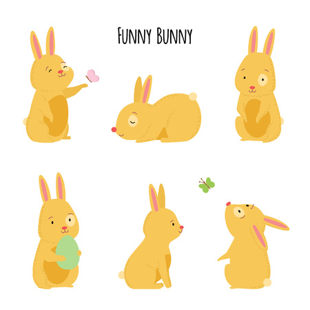 Cute vector illustration of cheerful rabbits in various poses. Set of rabbits for greeting cards for Easter, spring, or other holidays or scrapbook