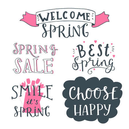 welcome smile: Cute, trendy hand drawn quotes and phrases overlays for photo design. Lettering sing - welcome spring, spring sale, best spring, smile it is spring, choose happy. Cute vector card Illustration