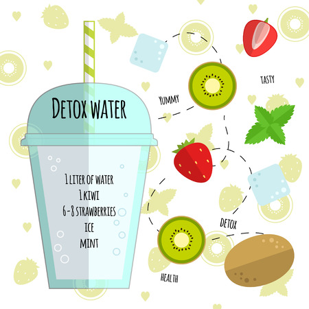 Recipe detox water with kiwi, strawberry, ice, mint. Vector illustration for greeting cards, magazine, cafe and restaurant menu. Fresh cocktail for healthy life, diets. Çizim