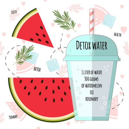 Recipe detox water with watermelon, rosemary, ice. Vector illustration for greeting cards, magazine, cafe and restaurant menu. Fresh cocktail for healthy life, diets. Çizim