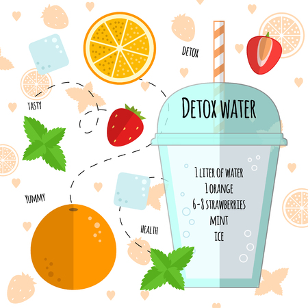 detox: Recipe detox water with orange, mint, strawberry, ice. Vector illustration for greeting cards, magazine, cafe and restaurant menu. Fresh cocktail for healthy life, diets.